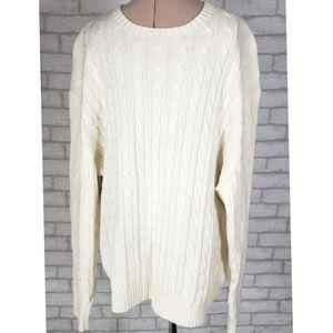 Daniel Cremieux Cream Cable Knit Sweater Lg